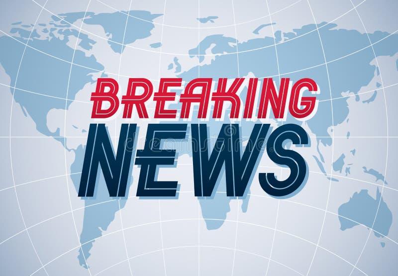 Fond de vecteur de dernières nouvelles, nouvelles du monde TV ou traduction de canal d'Internet, illustration avec la carte du mo illustration de vecteur