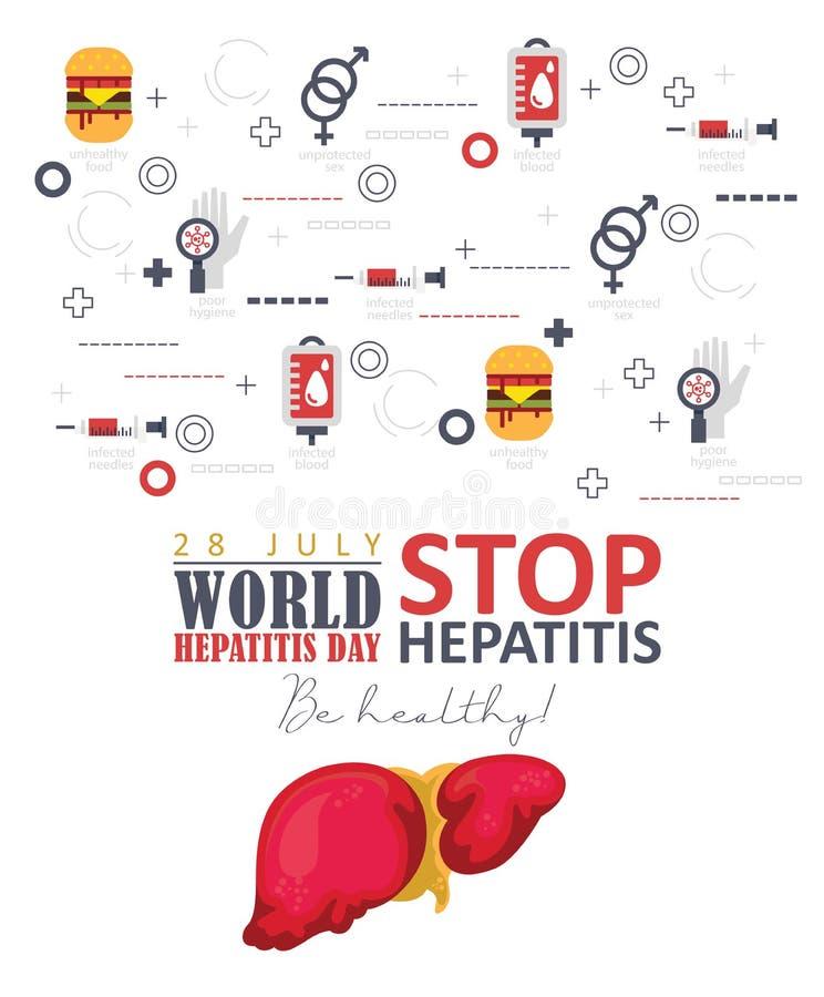 Fond de vecteur de jour d'hépatite du monde dans la conception plate moderne sur le fond blanc 28 juillet illustration de vecteur