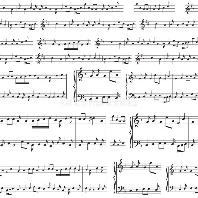 Fond de vecteur - modèle sans couture avec les notes noires de musique illustration libre de droits