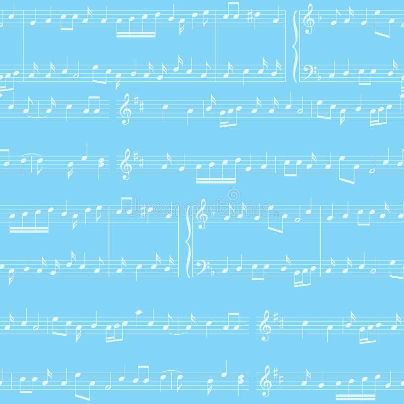 Fond de vecteur - modèle sans couture bleu-clair avec des notes de musique illustration stock