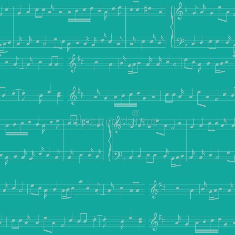 Fond de vecteur - modèle sans couture bleu vert avec des notes de musique illustration stock