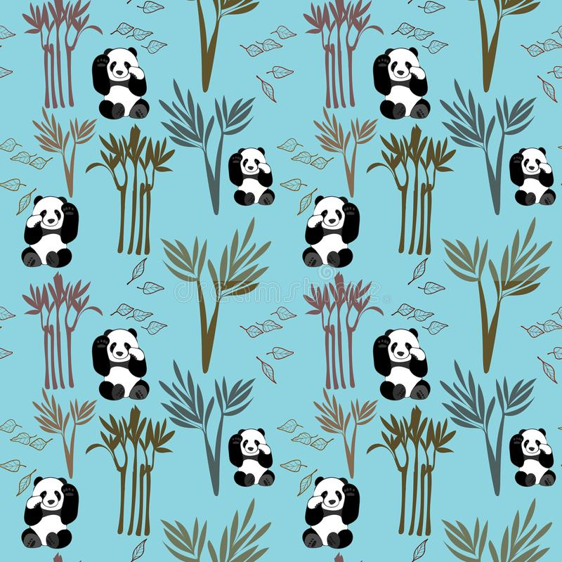 Fond de vecteur de Panda Pattern Small Seamless Repeat dans le bleu illustration libre de droits