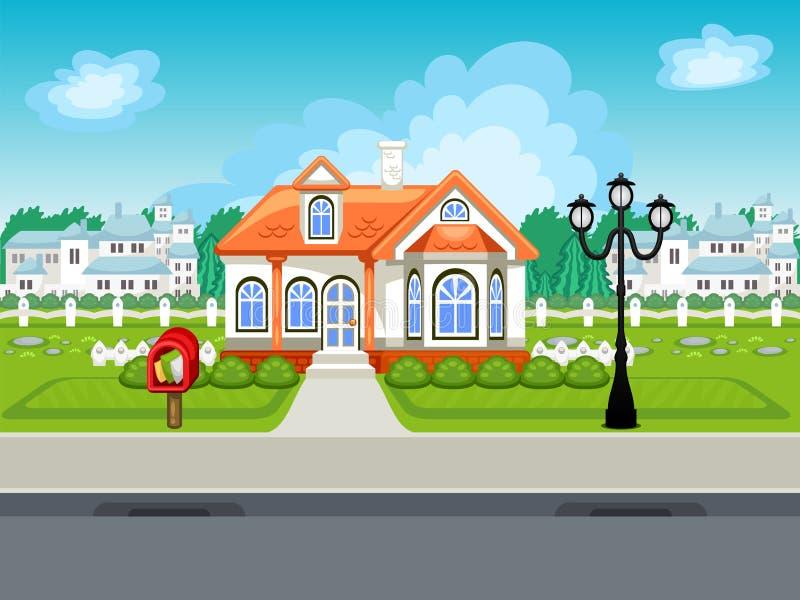 Fond de vecteur de rue de jeu avec la maison illustration stock