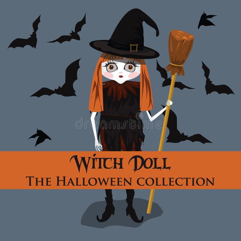 Fond de vecteur Style de Halloween avec la poupée de sorcière illustration stock