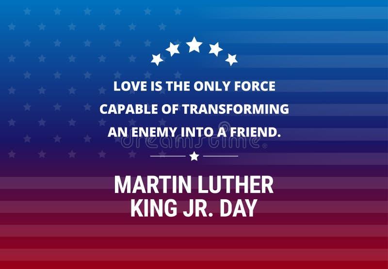 Fond de vecteur de vacances de Martin Luther King Jr Day - citation inspirée illustration stock