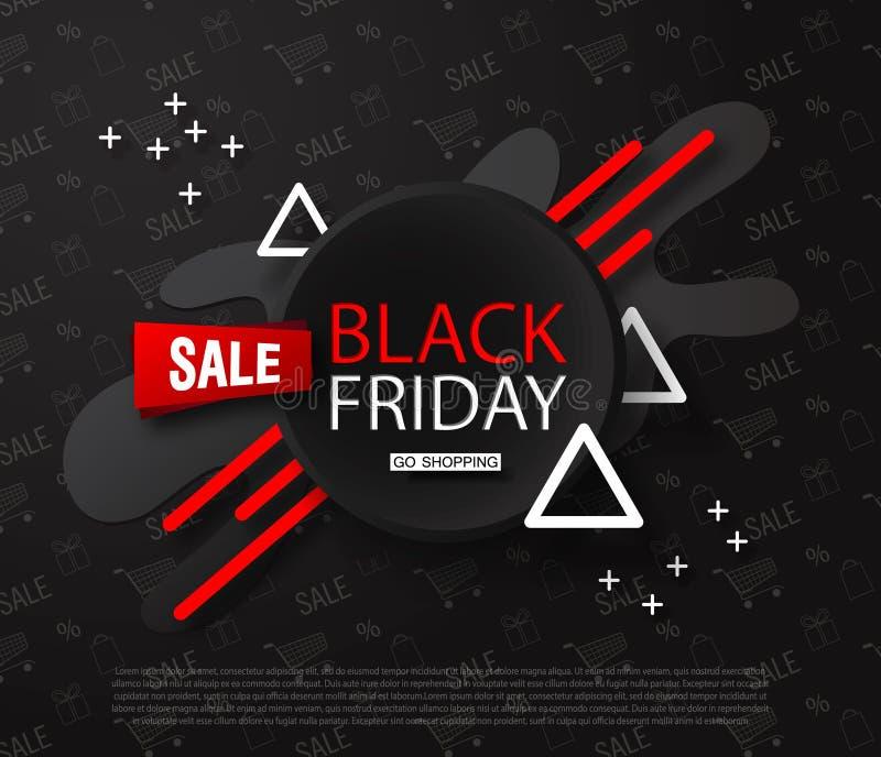 Fond de vente de Black Friday Composition abstraite avec les éléments géométriques Conception moderne Fond universel pour l'affic illustration stock