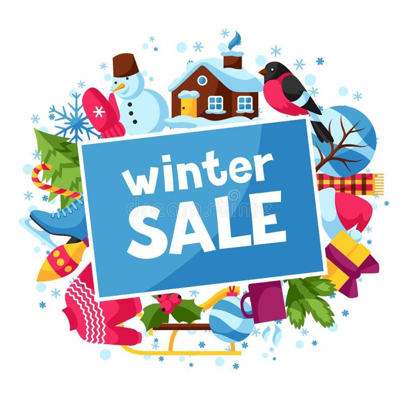 Fond de vente d'hiver Articles de vacances de Joyeux Noël, de bonne année et symboles illustration stock