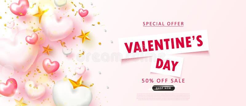 Fond de vente de jour du ` s de Valentine Composition romantique avec des coeurs, des étoiles, des perles et la serpentine Illust illustration libre de droits