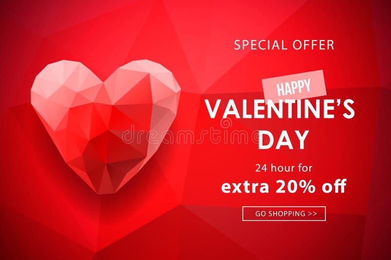 Fond de vente de jour de valentines avec en forme de coeur polygonal Illustration de vecteur Papier peint, insectes, invitation,  illustration libre de droits