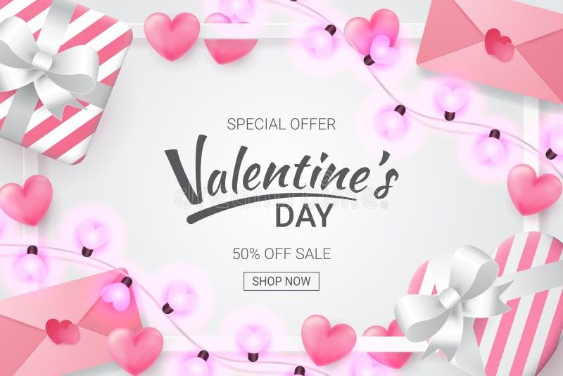 Fond de vente de jour de valentines avec la lettre en forme de coeur, d'amour, le cadeau et la lampe formée par amour illustration stock
