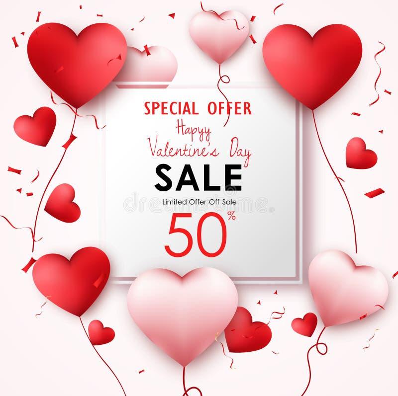 Fond de vente de jour de valentines avec les ballons en forme de coeur illustration de vecteur