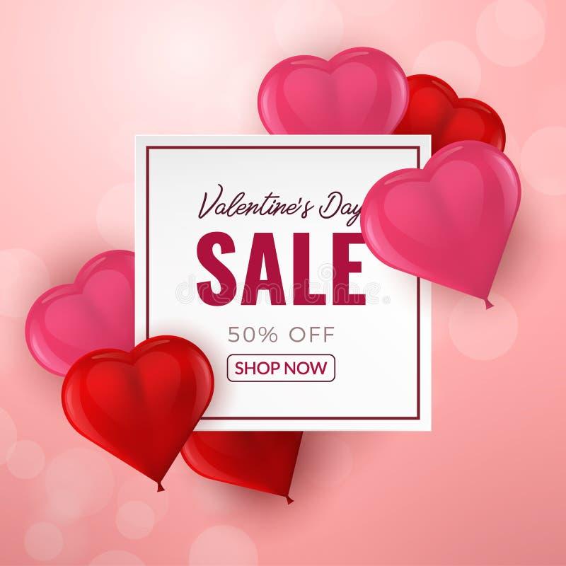 Fond de vente de jour de valentines avec les ballons en forme de coeur de rouge et de rose 3d Illustration de vecteur illustration libre de droits