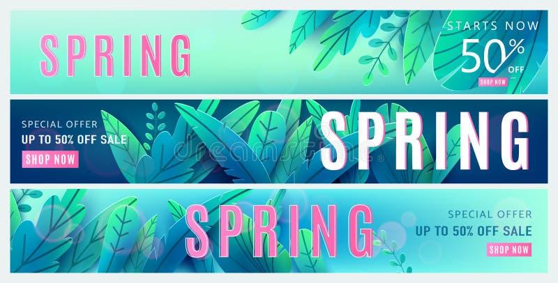 fond de vente de ressort Affiche de remise de printemps réglée avec les feuilles bleues vert clair d'imagination, effet de la lum illustration de vecteur