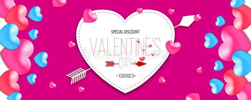 Fond de vente de Saint-Valentin Composition romantique avec des coeurs illustration pour le site Web, affiches illustration libre de droits