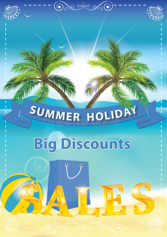 Fond de ventes d'été avec le bord de la mer et les palmiers illustration stock