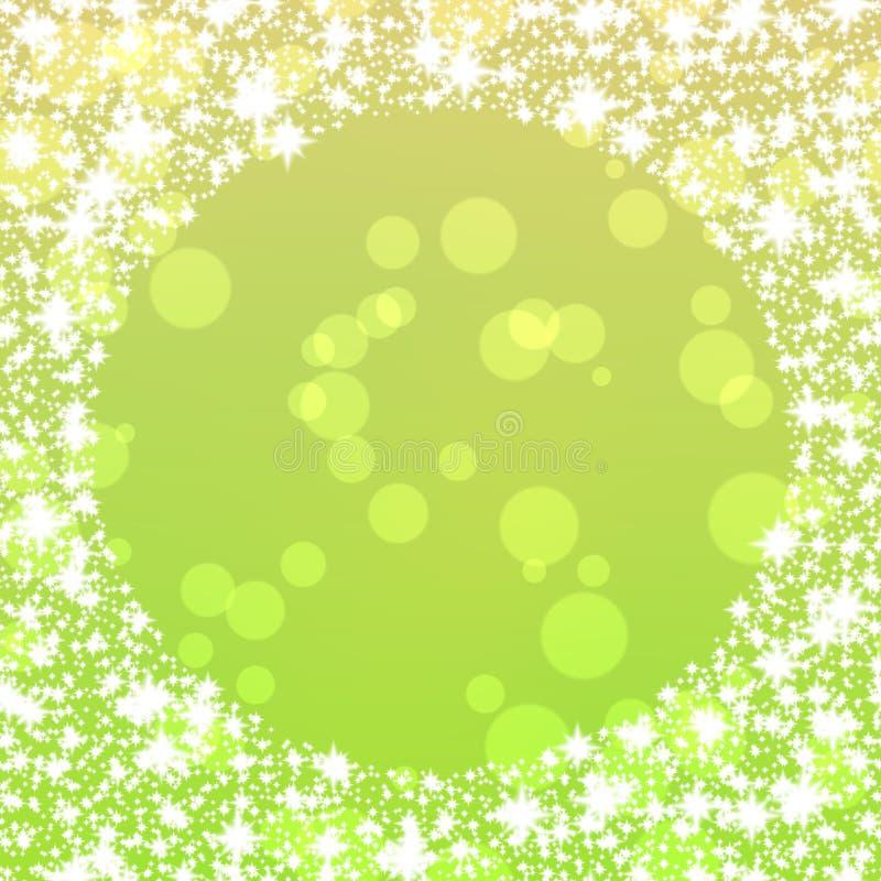 Fond de vert jaune avec la frontière ronde de flocons de neige illustration de vecteur