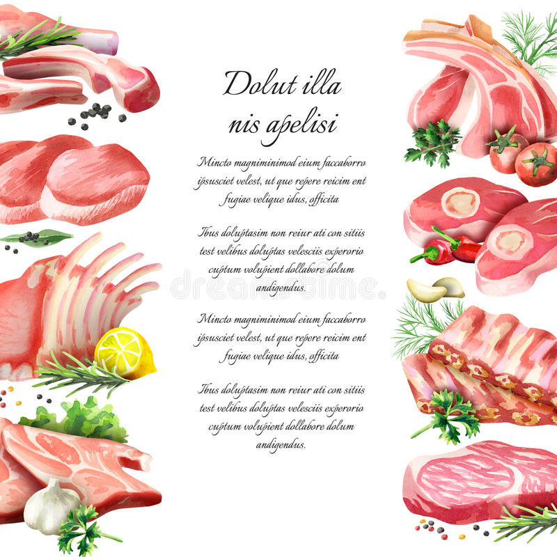 Fond de viande crue watercolor illustration libre de droits