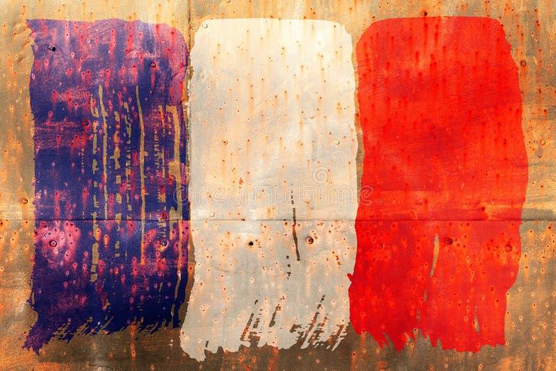 Fond de vieux drapeau français dans le style grunge photographie stock