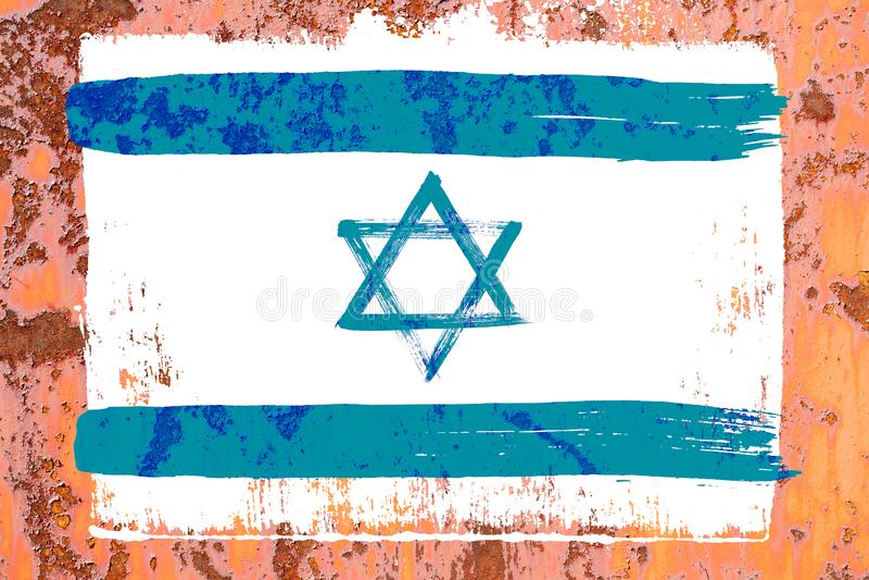 Fond de vieux drapeau israélien dans le style grunge photos libres de droits