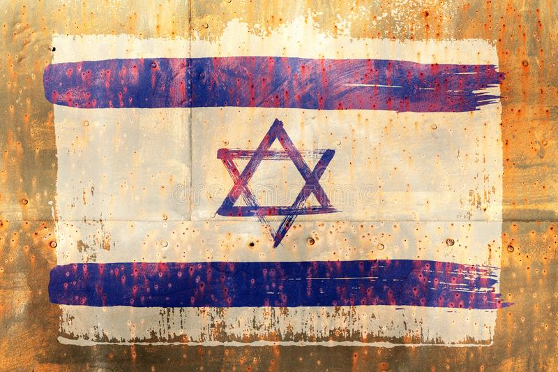 Fond de vieux drapeau israélien dans le style grunge images libres de droits