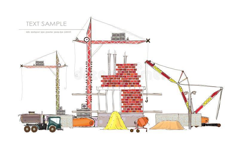 Fond de ville avec le chantier et les grues illustration stock