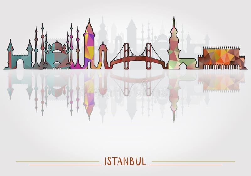 Fond de ville d'Istanbul avec la silhouette de paysage urbain illustration de vecteur