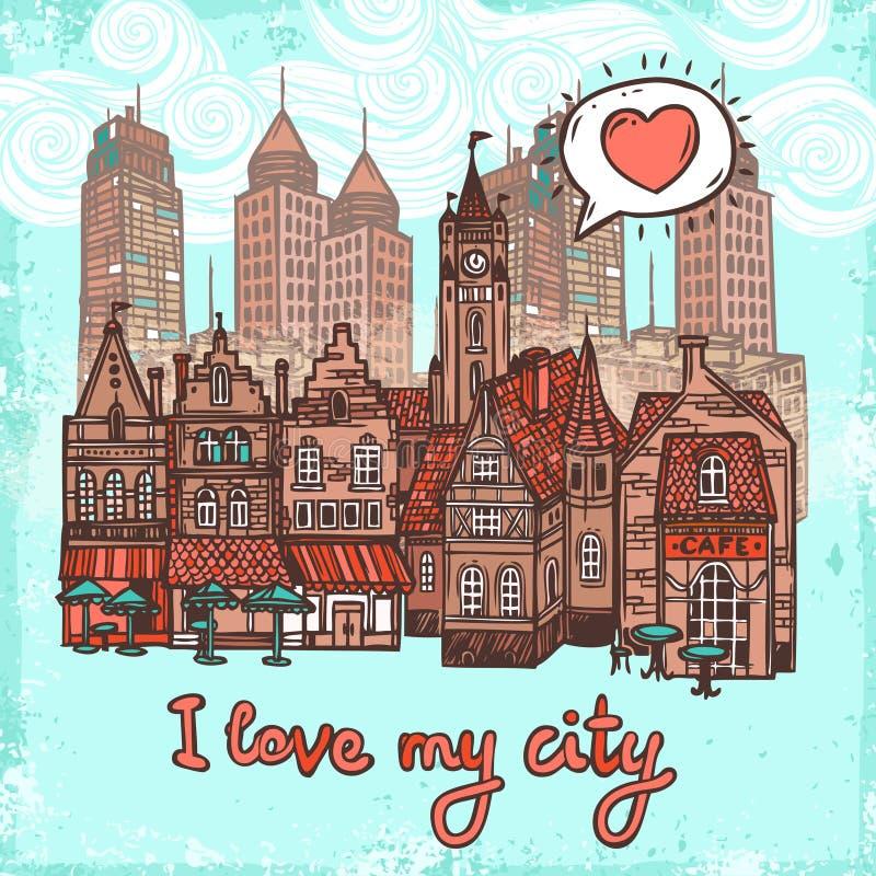 Fond de ville de croquis illustration stock