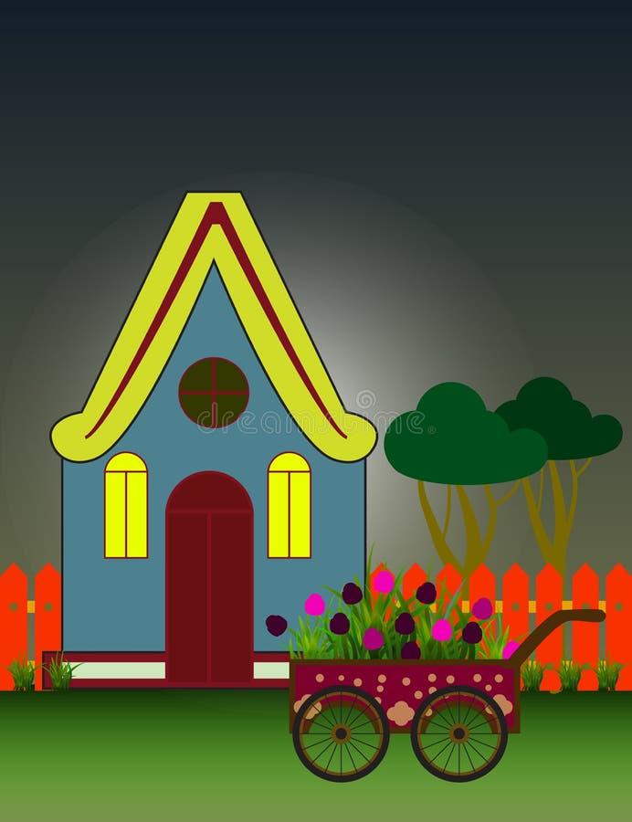 Fond de ville de nuit avec la Chambre suburbaine Front View Building et chariot avec des fleurs illustration de vecteur