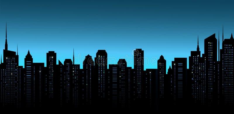 Fond de ville de nuit avec le bureau et les gratte-ciel illustration de vecteur