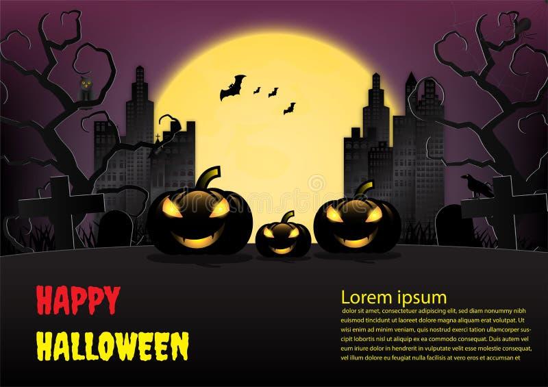 Fond de ville de Halloween avec le potiron et la pleine lune Illustration de vecteur illustration de vecteur