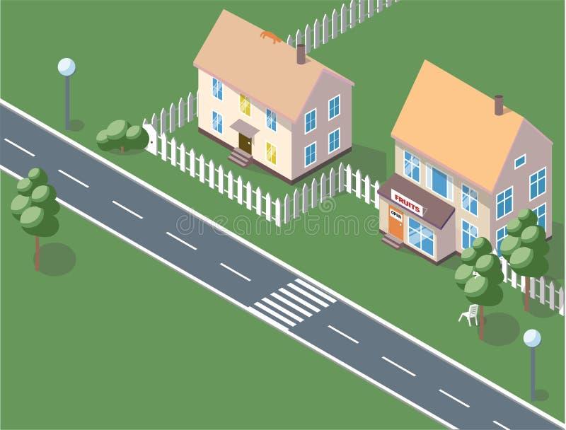 Fond de ville - illustration plate moderne de vecteur de style de conception sur le fond blanc Beau complexe de logements avec pe illustration de vecteur