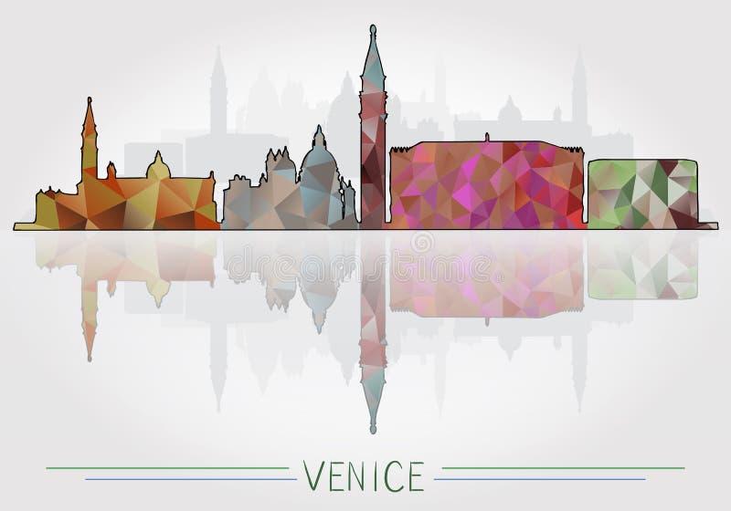 Fond de ville de Venise avec la silhouette de paysage urbain illustration libre de droits
