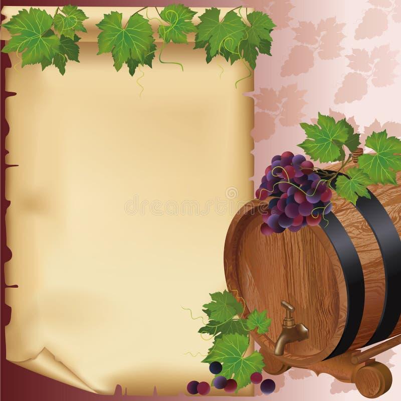 Fond de vin avec du raisin, le baril et le papier illustration de vecteur
