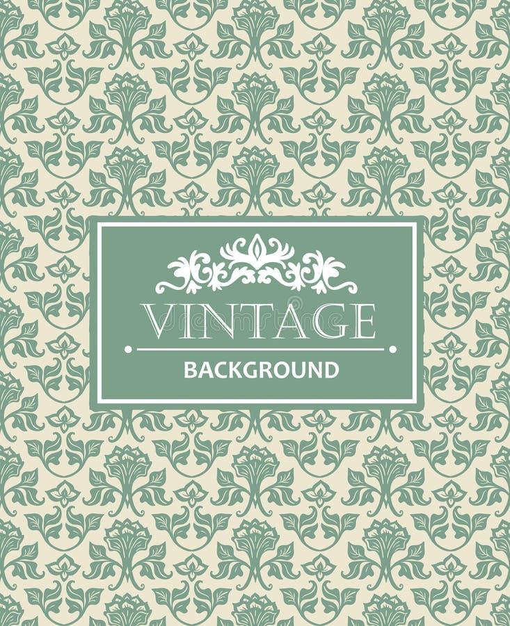 Fond de vintage, antiquité, ornement argenté de victorian, calibre ornemental de luxe floral de modèle pour la conception illustration stock