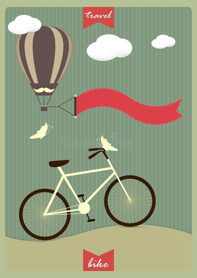Fond de vintage avec la bicyclette et endroit pour votre texte illustration de vecteur