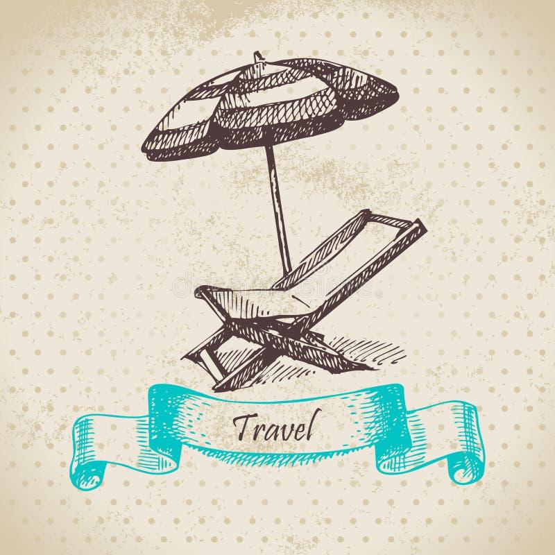 Fond de vintage avec le fauteuil et le parapluie de plage illustration libre de droits