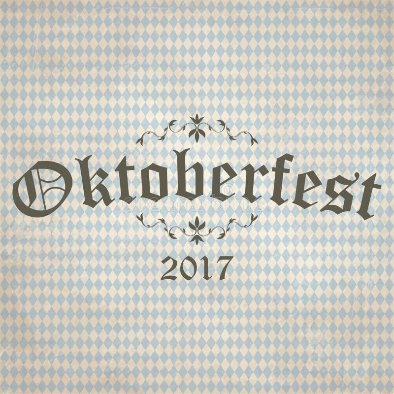 fond de vintage avec le modèle à carreaux pour Oktoberfest 2017 illustration de vecteur