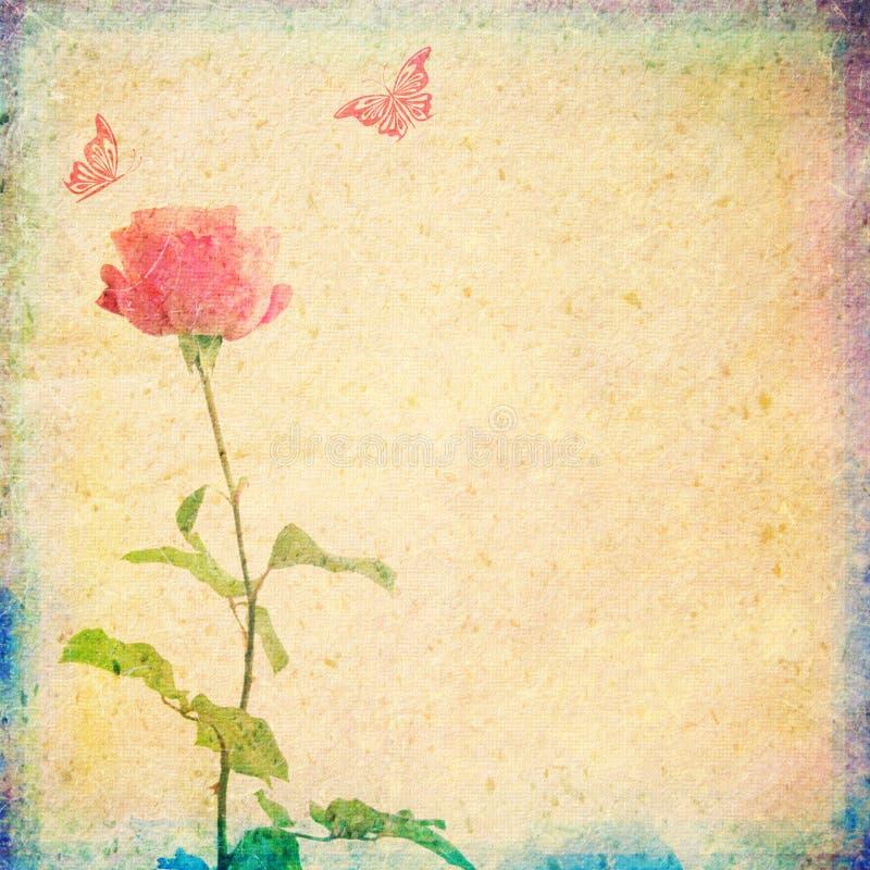 Fond de vintage avec rose et des papillons illustration de vecteur