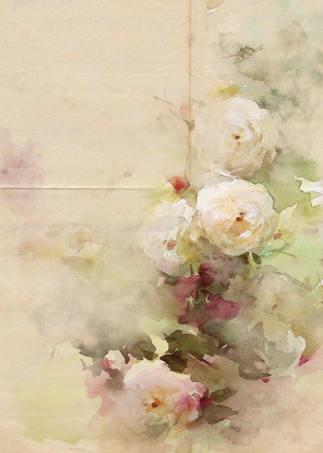 Fond de vintage d'aquarelle de roses illustration libre de droits