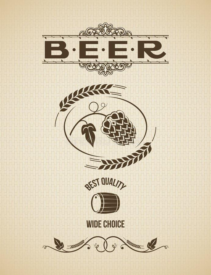 Fond de vintage de conception d'houblon de bière illustration libre de droits
