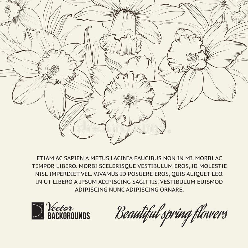 Fond de vintage, design de carte fleuri pour illustration de vecteur