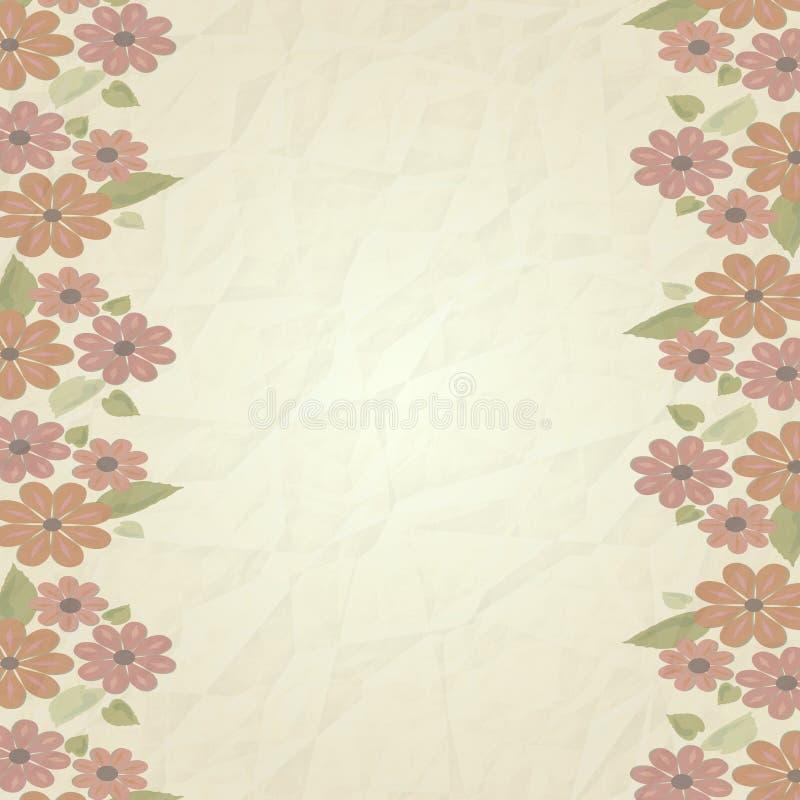 Fond de vintage, vieille texture de papier avec les fleurs roses molles fanées à la frontière verticale gauche et droite illustration libre de droits