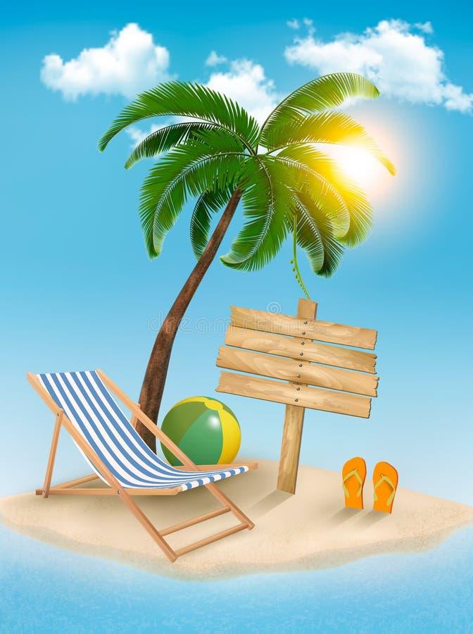 Fond de voyage avec l'île tropicale. illustration libre de droits
