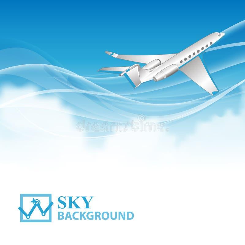 Fond de voyage avec l'avion et les nuages blancs illustration stock