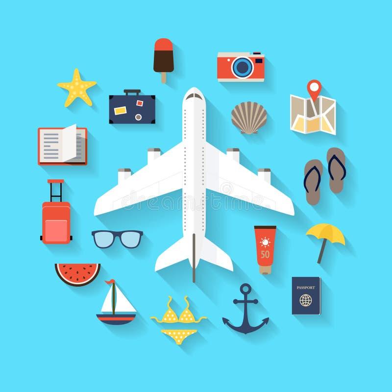 Fond de voyage d'été - icônes illustration de vecteur