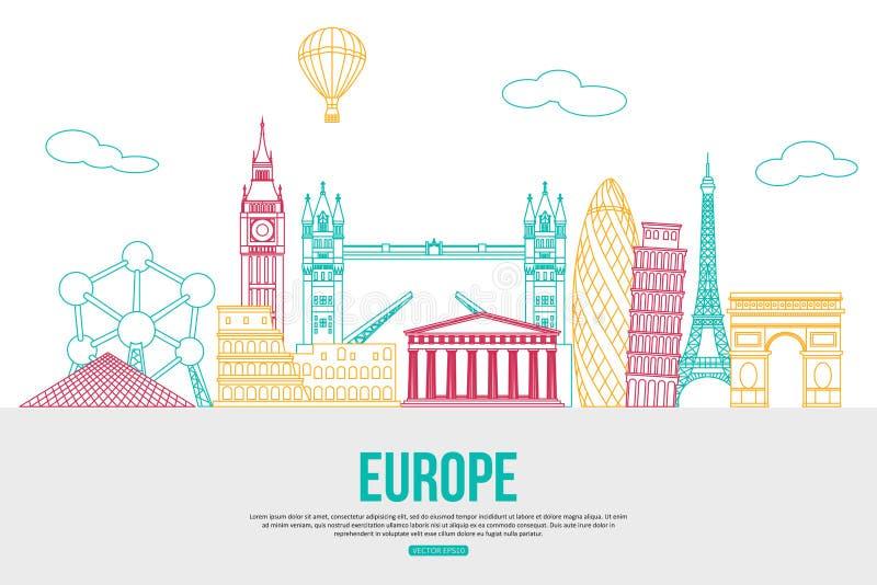 Fond de voyage de l'Europe avec l'endroit pour le texte illustration libre de droits