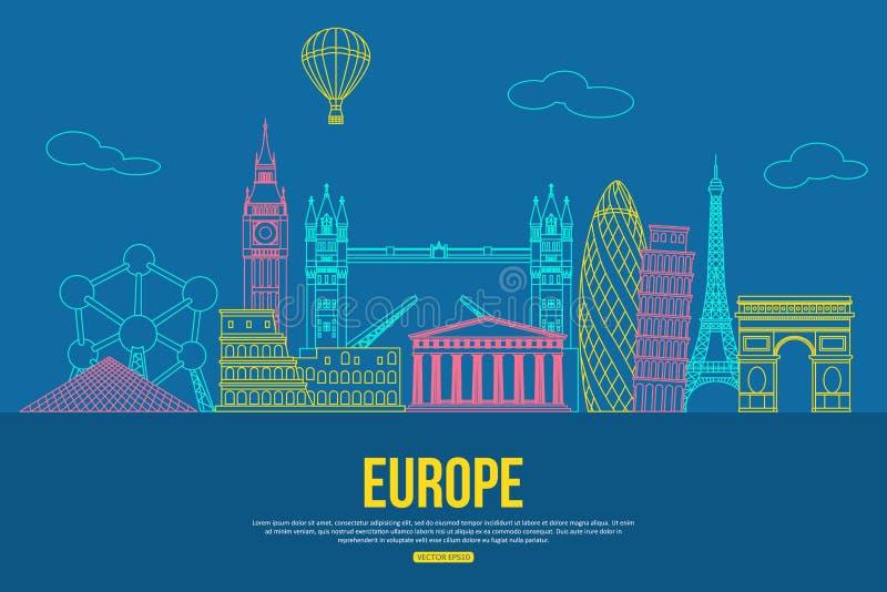 Fond de voyage de l'Europe avec l'endroit pour le texte Sightseeings et symboles décrits par Européen d'isolement Horizon détaill illustration stock