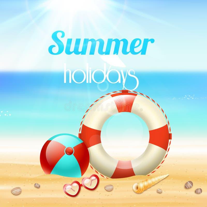 Fond de voyage de vacances de vacances d'été illustration stock