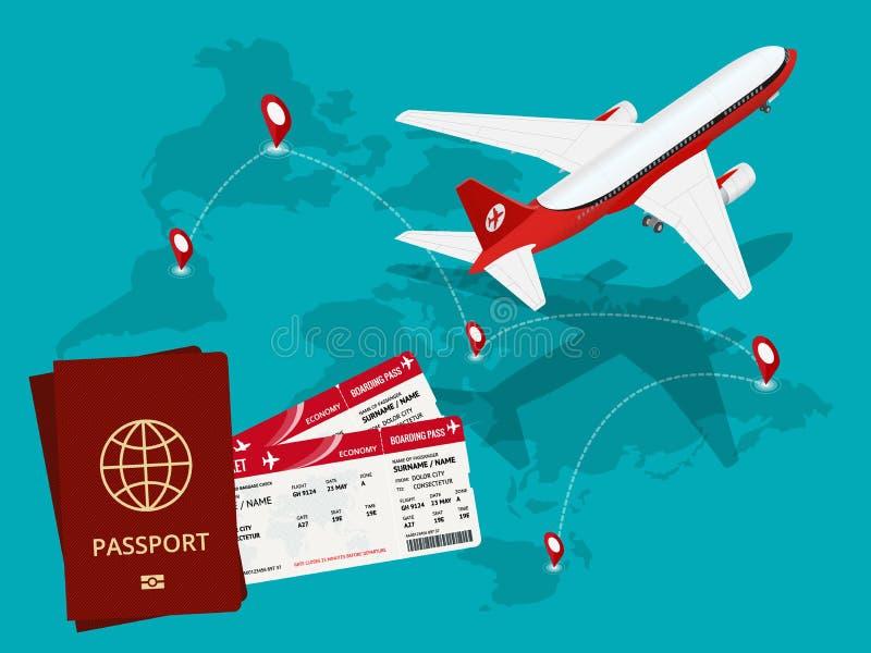 Fond de voyage et de tourisme Billets en ligne de achat ou de réservation Voyage, vols d'affaires dans le monde entier Monde de t illustration de vecteur
