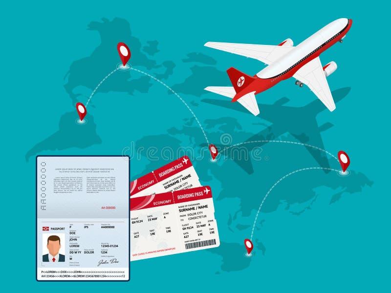 Fond de voyage et de tourisme Billets en ligne de achat ou de réservation Voyage, vols d'affaires dans le monde entier Monde de t illustration stock